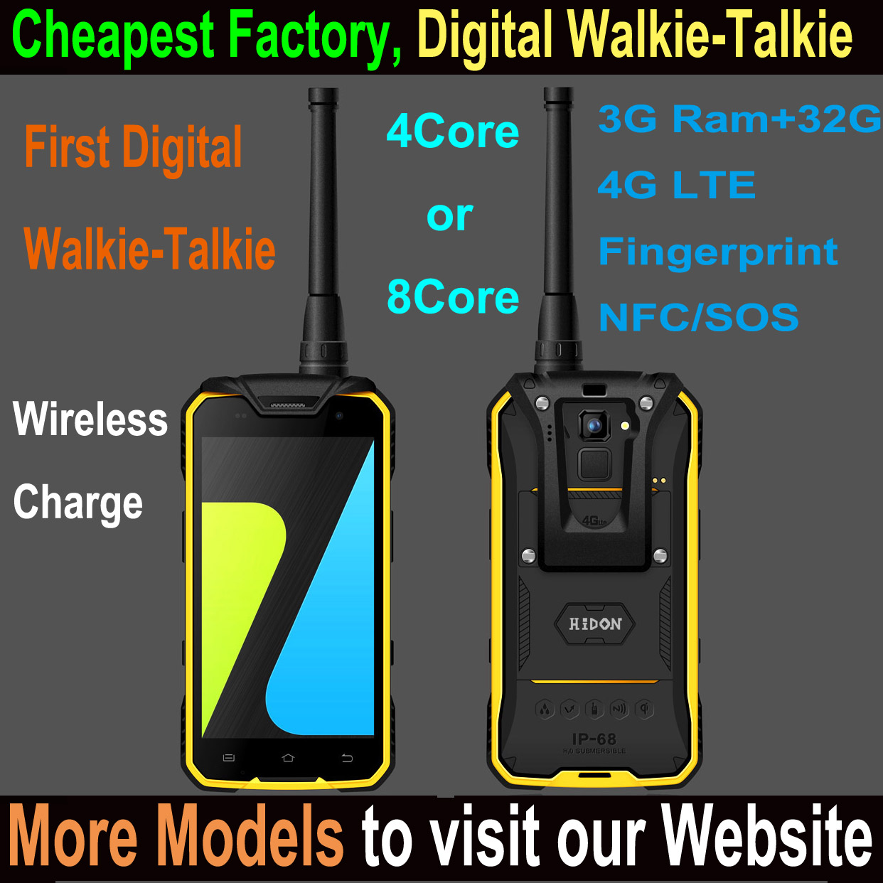 "Highton 4.7"" Quad-core IP68 wireless charge Rugged Smart phone , 4G Industrial smart phone with NFC and digital Walkie-Talkie"